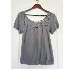 UO | Kimchi & Blue Grey Puff Sleeve Crochet Shirt